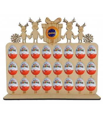 6mm Reindeer Family Plaque Chocolate Orange & Kinder Egg Holder Advent Calendar on a Stand - Options