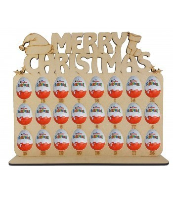 6mm Merry Christmas with Christmas Shapes Plaque Kinder Egg Holder Advent Calendar on a Stand - BULK BUY PACK OF 4