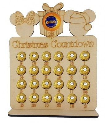 6mm Mouse Head Shapes Plaque Chocolate Orange and Ferrero Rocher Holder Advent Calendar