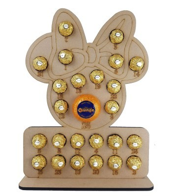 6mm Mouse Head with Bow Plaque Chocolate Orange and Ferrero Rocher Holder Advent Calendar