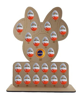 6mm Mouse Head with Bow Chocolate Orange & Kinder Egg Holder Advent Calendar on a Stand - BULK BUY PACK OF 4