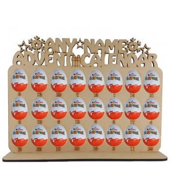 6mm Personalised Plaque Kinder Egg Holder Advent Calendar on a Stand