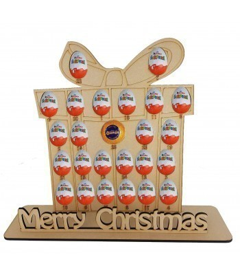 6mm Christmas Present Chocolate Orange & Kinder Egg Holder Advent Calendar on a Stand