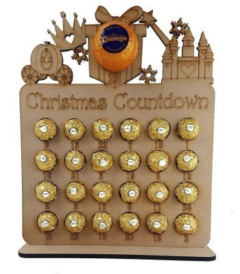 6mm Princess Shapes Plaque Chocolate Orange and Ferrero Rocher Holder Advent Calendar