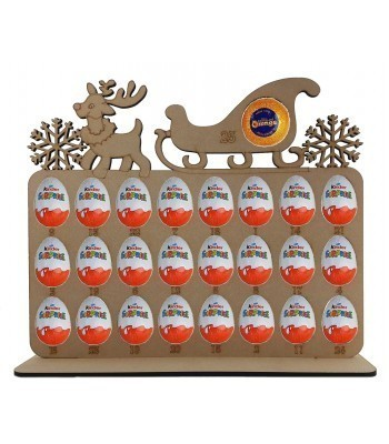 6mm Reindeer & Sleigh Plaque Chocolate Orange & Kinder Egg Holder Advent Calendar on a Stand