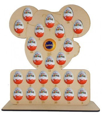 6mm Santa Mouse Chocolate Orange & Kinder Egg Holder Advent Calendar on a Stand