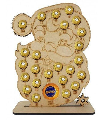 6mm Santa Head Chocolate Orange and Ferrero Rocher Holder Advent Calendar BULK BUY PACK OF 8