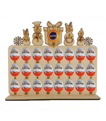 6mm Snowman Family Plaque Chocolate Orange & Kinder Egg Holder Advent Calendar on a Stand - Options