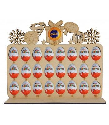 6mm Superhero Shapes Plaque Chocolate Orange & Kinder Egg Holder Advent Calendar on a Stand