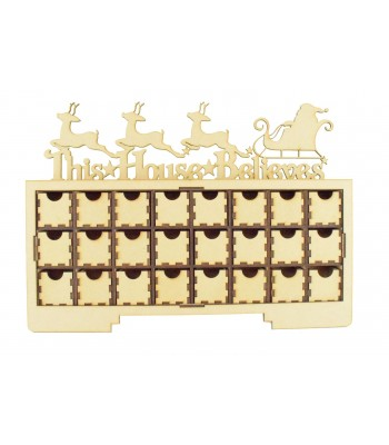 Laser Cut Christmas Rectangle 24 Drawers Advent Calendar Drawers with 'This House Believes' Sleigh and Reindeer