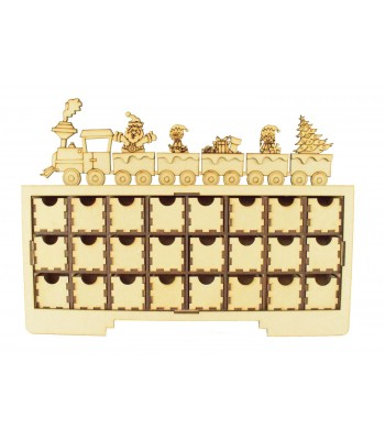 Laser Cut Christmas Rectangle 24 Drawers Advent Calendar Drawers with Christmas Train