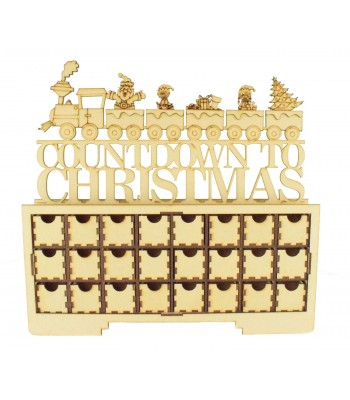 Laser Cut Christmas Rectangle 24 Drawer Advent Calendar Drawers with 'Countdown to Christmas' Train
