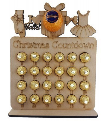 6mm Ballet Shapes Plaque Chocolate Orange and Ferrero Rocher Holder Advent Calendar
