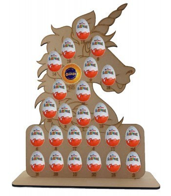6mm Unicorn Head Chocolate Orange & Kinder Egg Holder Advent Calendar on a Stand
