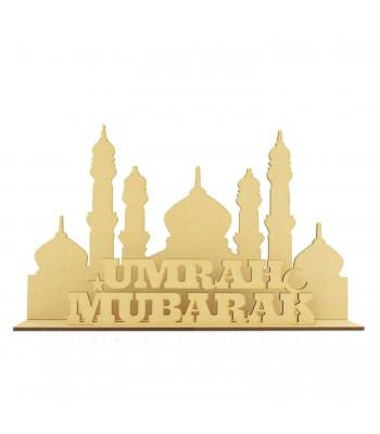 Laser Cut 3mm 'Umrah Mubarak' Temple Sign on stand