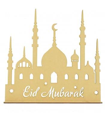 Laser Cut Mosque Temple With Eid Mubarak Stencil Cut Wording OnStand