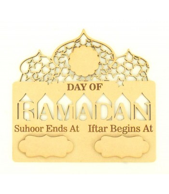 Laser Cut Ramadan Countdown Temple Plaque with 3D Plaques