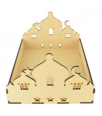 Laser Cut 6mm Ramadan Tray with Temple Design Front and Back with Plain Sides
