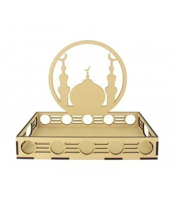Laser Cut 6mm Ramadan Tray with Temple Design in a Circle Frame and Circle Pattern Sides