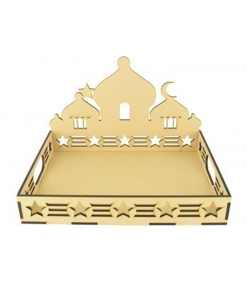 Laser Cut 6mm Ramadan Tray with Temple Design and Star Pattern Sides