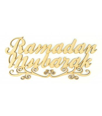 Laser Cut 'Ramadan Mubarak' Sign with Swirl Underline