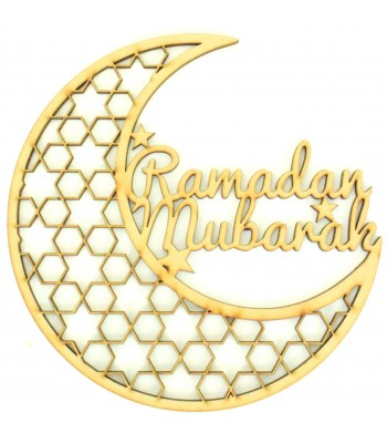 Laser Cut 'Ramadan Mubarak' Decorative Moon