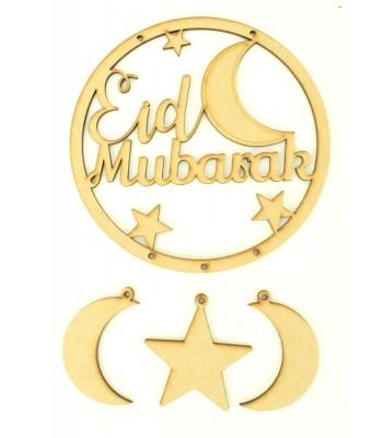 Laser Cut 'Eid Mubarak' Dream Catcher with Hanging Shapes