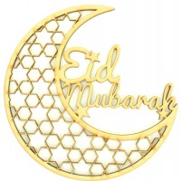 Laser Cut 'Eid Mubarak' Decorative Moon