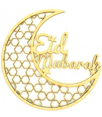 Laser Cut 'Eid Mubarak' Decorative Moon