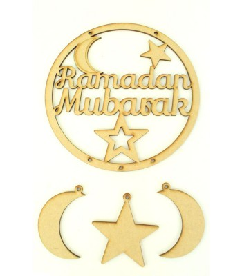 Laser Cut 'Ramadan Mubarak' Dream Catcher with Hanging Shapes