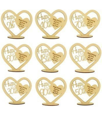 Laser Cut Personalised Happy Birthday Heart on a Stand with Engraved Message