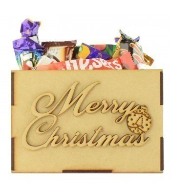 Laser Cut Plain Hamper Treat Boxes - Merry Christmas Wording