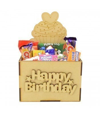 Laser Cut Birthday Hamper Treat Boxes - Cupcake