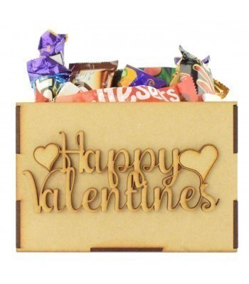 Laser Cut Plain Hamper Treat Boxes -Happy Valentines Day Wording