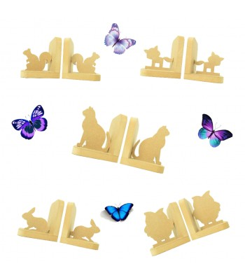 18mm Freestanding MDF Bookends - Animal Themed Sample Pack of 5 Pairs