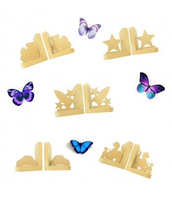 18mm Freestanding MDF Bookends - Boys Themed Sample Pack of 5 Pairs