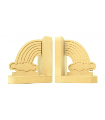 18mm Freestanding MDF 'Engraved Rainbow' Shape Pair of Bookends