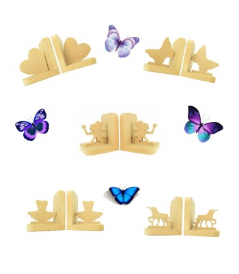 18mm Freestanding MDF Bookends - Girls Themed Sample Pack of 5 Pairs