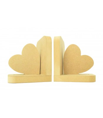 18mm Freestanding MDF 'Plain Heart' Shape Pair of Bookends