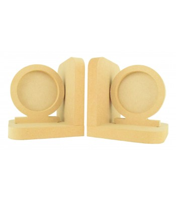 18mm Freestanding MDF Circle Photo Frame Pair of Bookends