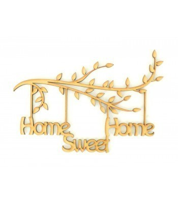 Laser Cut Box Frame Branch - Home Sweet Home