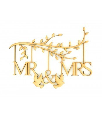 Laser Cut Box Frame Branch - Mr & Mrs