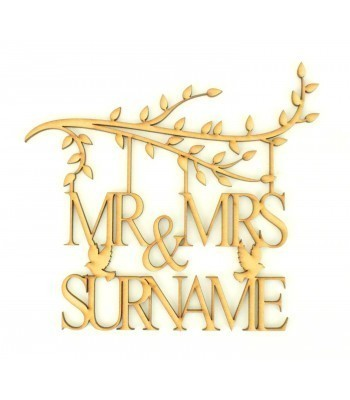 Laser Cut Personalised Box Frame Branch - Mr & Mrs