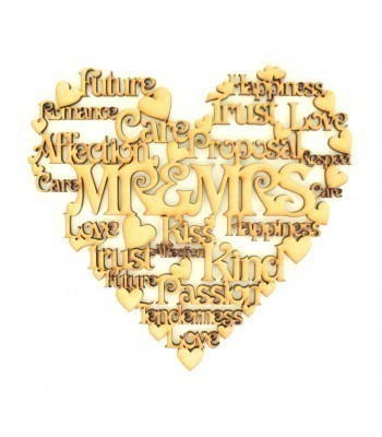 Laser Cut Personalised 'Mr & Mrs' Word Collage Box Frame Heart
