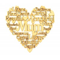 Laser Cut Personalised Female Family Name Word Collage Box Frame Heart