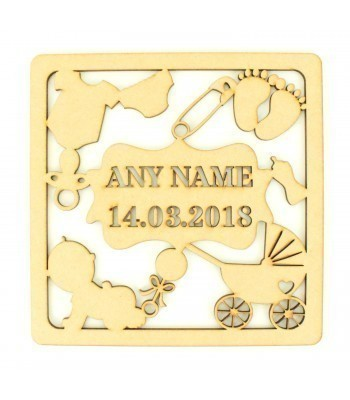 Laser Cut Personalised Box Frame Birth Plaque - Baby Theme