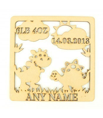 Laser Cut Personalised Box Frame Birth Plaque - Dinosaur Theme