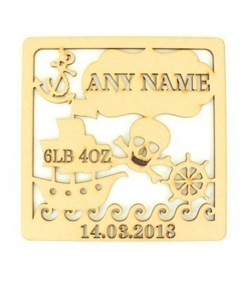 Laser Cut Personalised Box Frame Birth Plaque - Pirate Theme