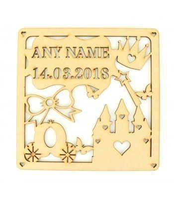 Laser Cut Personalised Box Frame Birth Plaque - Princess Theme