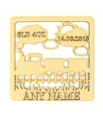 Laser Cut Personalised Box Frame Birth Plaque - Train Theme